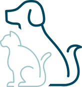 iconographical dog and cat silhouette facing left